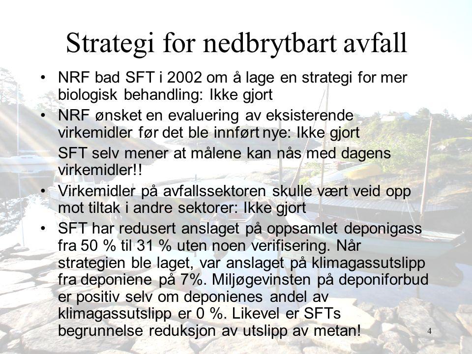 4 Strategi for nedbrytbart avfall •NRF bad SFT i 2002 om å lage en strategi for mer biologisk behandling: Ikke gjort •NRF ønsket en evaluering av eksi