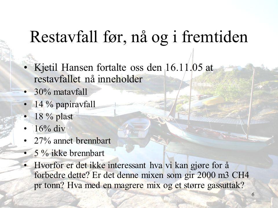 6 Restavfall før, nå og i fremtiden •Kjetil Hansen fortalte oss den 16.11.05 at restavfallet nå inneholder •30% matavfall •14 % papiravfall •18 % plas