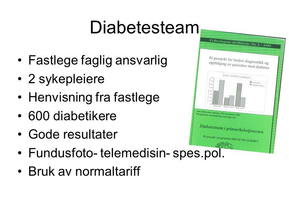 Diabetesteam •Fastlege faglig ansvarlig •2 sykepleiere •Henvisning fra fastlege •600 diabetikere •Gode resultater •Fundusfoto- telemedisin- spes.pol.