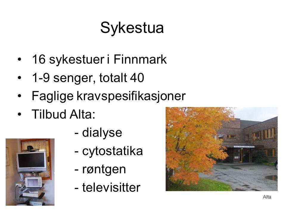 Sykestua •16 sykestuer i Finnmark •1-9 senger, totalt 40 •Faglige kravspesifikasjoner •Tilbud Alta: - dialyse - cytostatika - røntgen - televisitter Alta