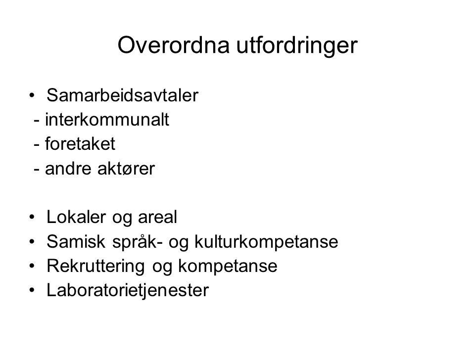 Overordna utfordringer •Samarbeidsavtaler - interkommunalt - foretaket - andre aktører •Lokaler og areal •Samisk språk- og kulturkompetanse •Rekruttering og kompetanse •Laboratorietjenester