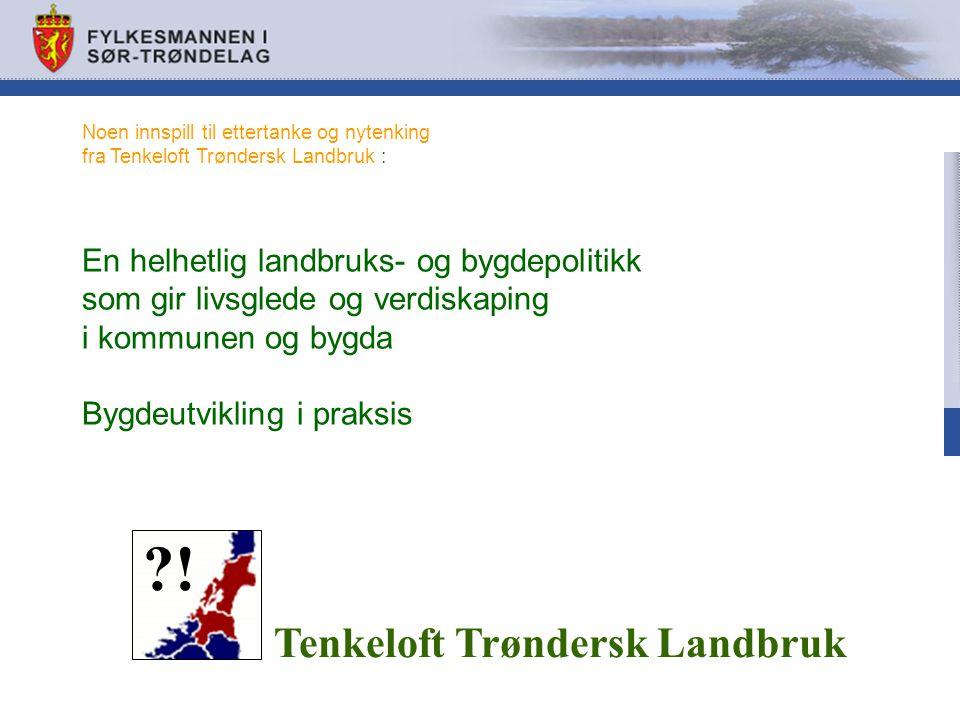 Noen innspill til ettertanke og nytenking fra Tenkeloft Trøndersk Landbruk : En helhetlig landbruks- og bygdepolitikk som gir livsglede og verdiskaping i kommunen og bygda Bygdeutvikling i praksis Tenkeloft Trøndersk Landbruk ?!