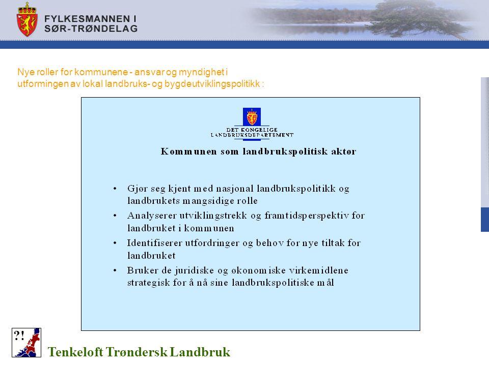 Nye roller for kommunene - ansvar og myndighet i utformingen av lokal landbruks- og bygdeutviklingspolitikk : Tenkeloft Trøndersk Landbruk ?!