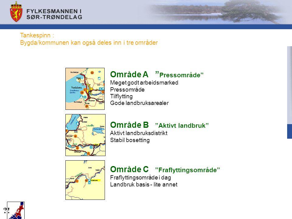 "Tankespinn : Bygda/kommunen kan også deles inn i tre områder ?! Område A "" Pressområde"" Meget godt arbeidsmarked Pressområde Tilflytting Gode landbruk"