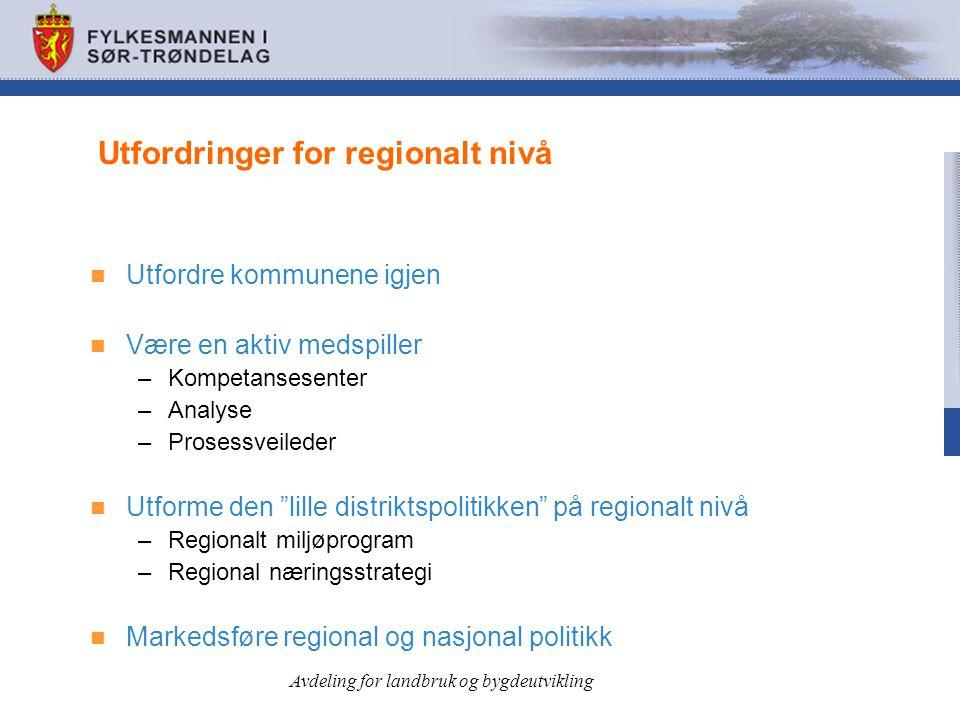 """Utfordringer for regionalt nivå  Utfordre kommunene igjen  Være en aktiv medspiller –Kompetansesenter –Analyse –Prosessveileder  Utforme den """"lille"""