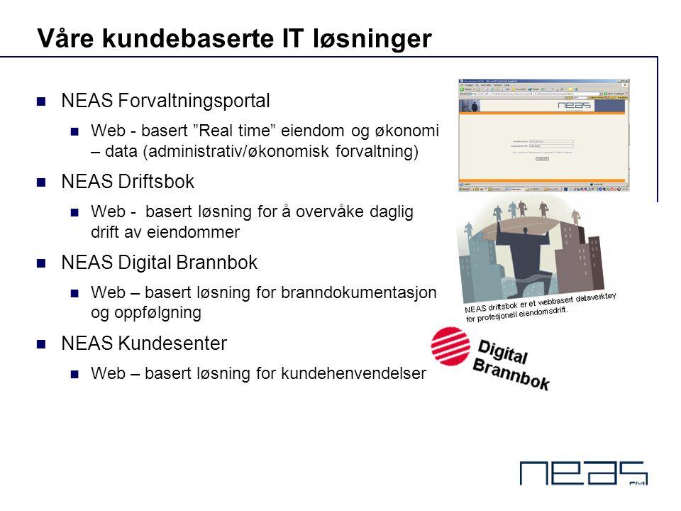 """Våre kundebaserte IT løsninger  NEAS Forvaltningsportal  Web - basert """"Real time"""" eiendom og økonomi – data (administrativ/økonomisk forvaltning) """
