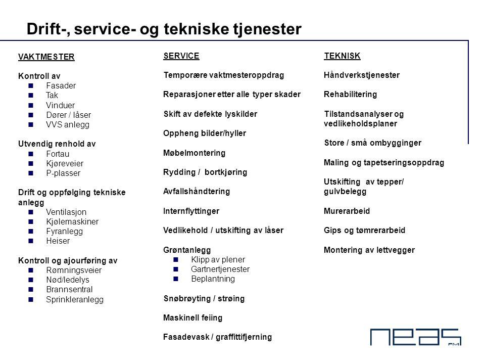 Drift-, service- og tekniske tjenester VAKTMESTER Kontroll av  Fasader  Tak  Vinduer  Dører / låser  VVS anlegg Utvendig renhold av  Fortau  Kj