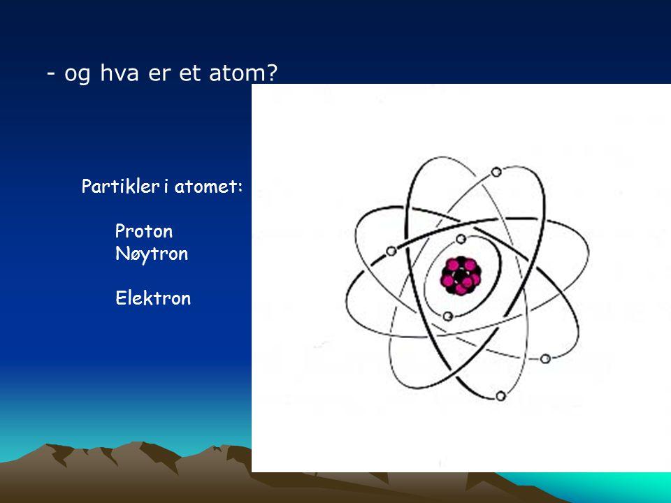 - og hva er et atom? Partikler i atomet: Proton Nøytron Elektron