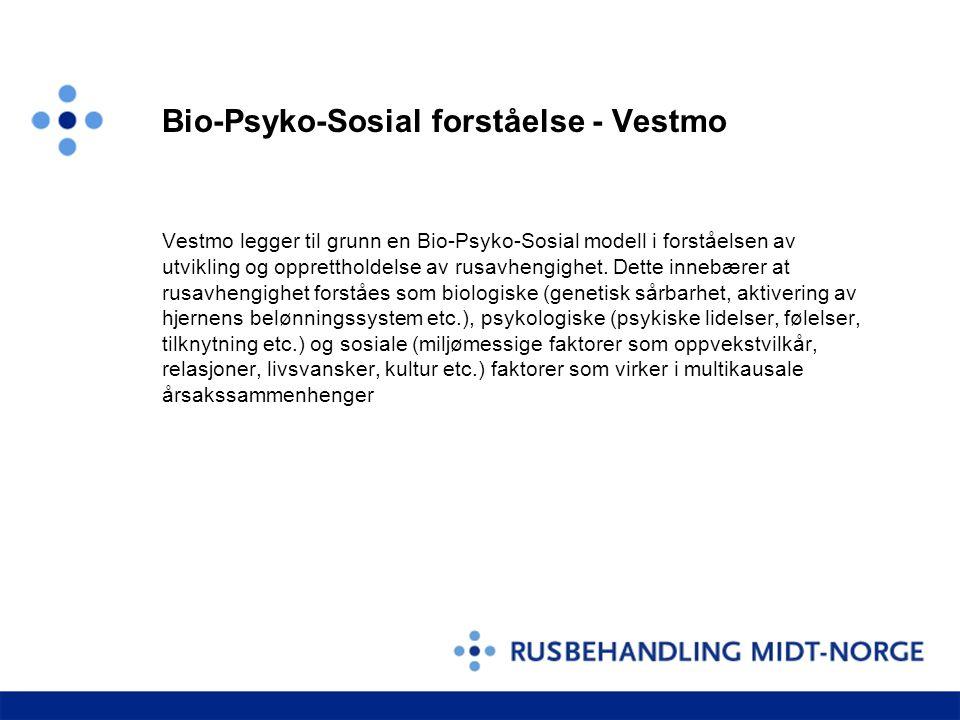 Bio-Psyko-Sosial forståelse - Vestmo Vestmo legger til grunn en Bio-Psyko-Sosial modell i forståelsen av utvikling og opprettholdelse av rusavhengighet.