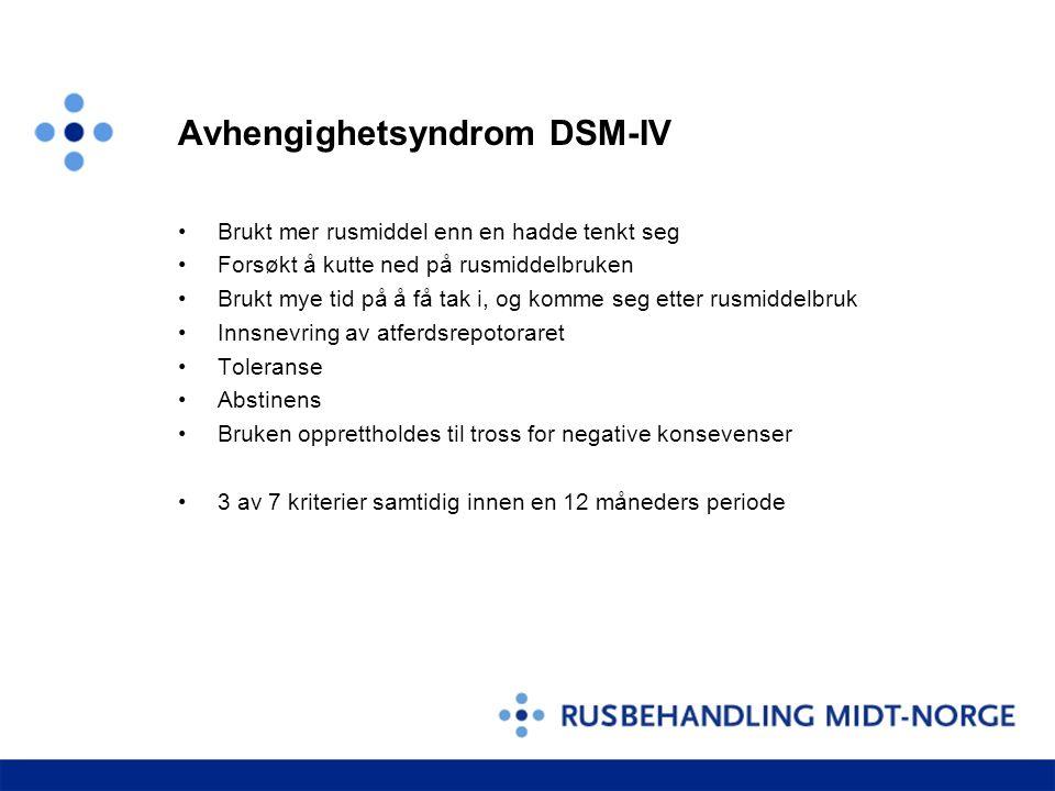 Avhengighetsyndrom DSM-IV •Brukt mer rusmiddel enn en hadde tenkt seg •Forsøkt å kutte ned på rusmiddelbruken •Brukt mye tid på å få tak i, og komme s