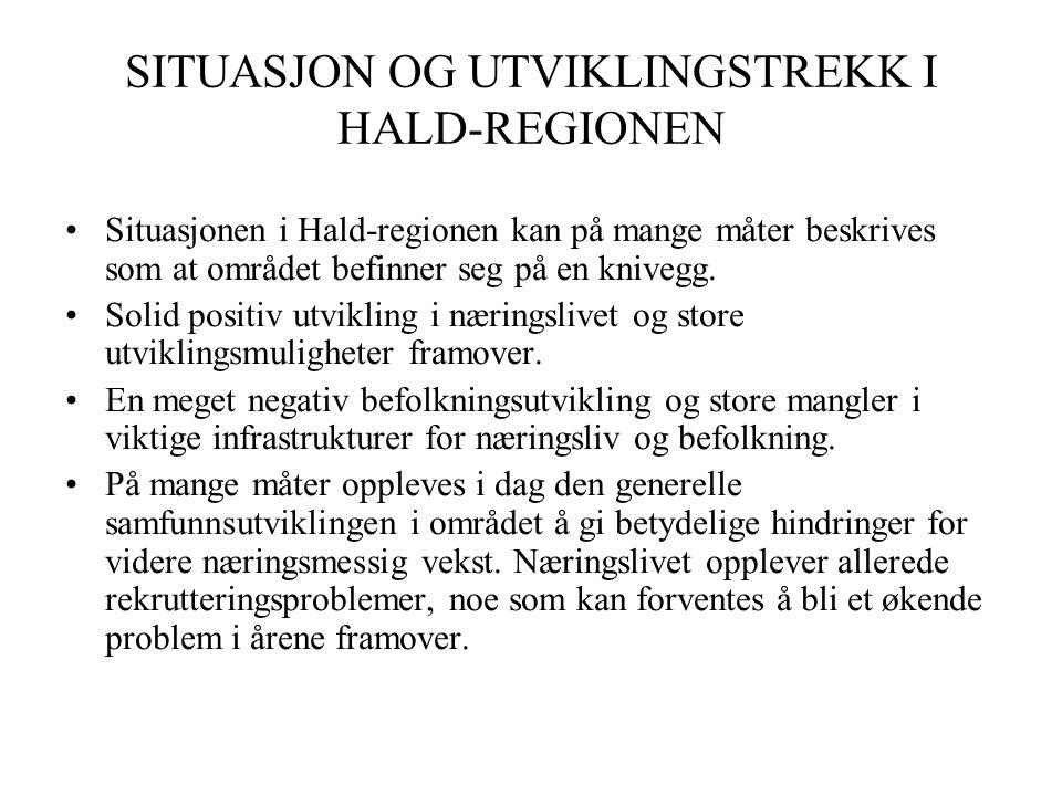 SITUASJON OG UTVIKLINGSTREKK I HALD-REGIONEN •Situasjonen i Hald-regionen kan på mange måter beskrives som at området befinner seg på en knivegg.