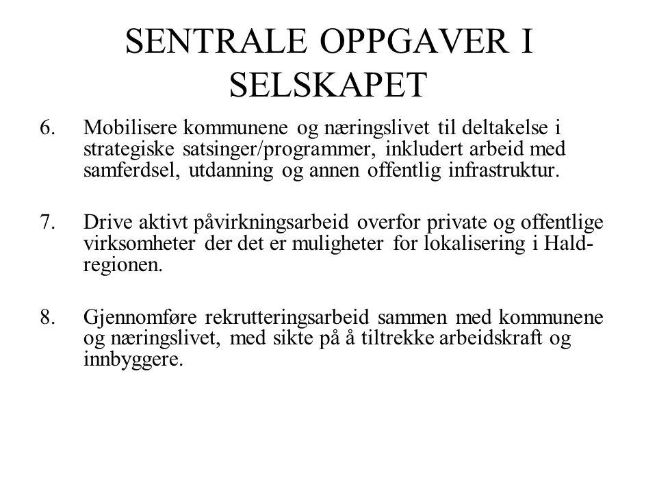 SENTRALE OPPGAVER I SELSKAPET 6.Mobilisere kommunene og næringslivet til deltakelse i strategiske satsinger/programmer, inkludert arbeid med samferdsel, utdanning og annen offentlig infrastruktur.