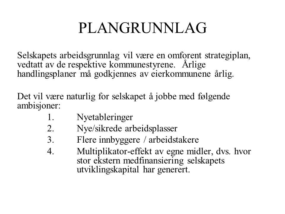 PLANGRUNNLAG Selskapets arbeidsgrunnlag vil være en omforent strategiplan, vedtatt av de respektive kommunestyrene.