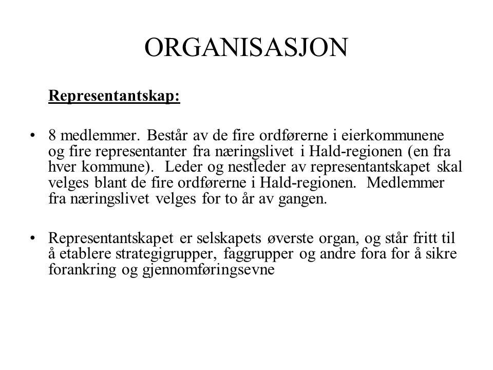 ORGANISASJON Representantskap: •8 medlemmer.