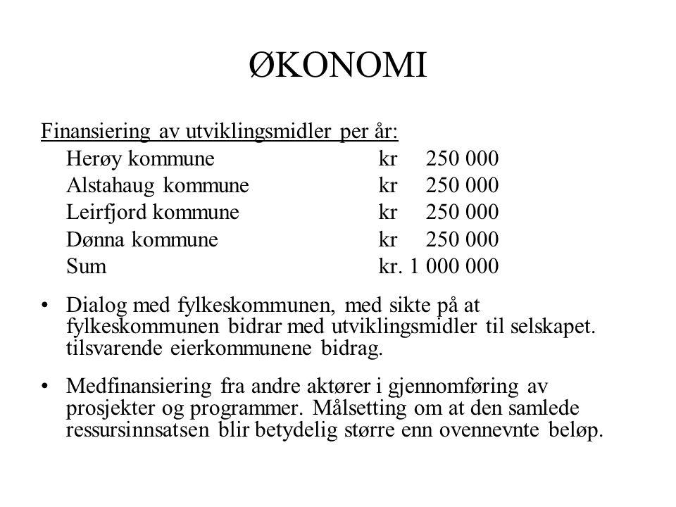 ØKONOMI Finansiering av utviklingsmidler per år: Herøy kommunekr 250 000 Alstahaug kommunekr 250 000 Leirfjord kommunekr 250 000 Dønna kommunekr 250 000 Sumkr.