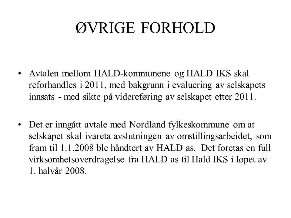 ØVRIGE FORHOLD •Avtalen mellom HALD-kommunene og HALD IKS skal reforhandles i 2011, med bakgrunn i evaluering av selskapets innsats - med sikte på videreføring av selskapet etter 2011.