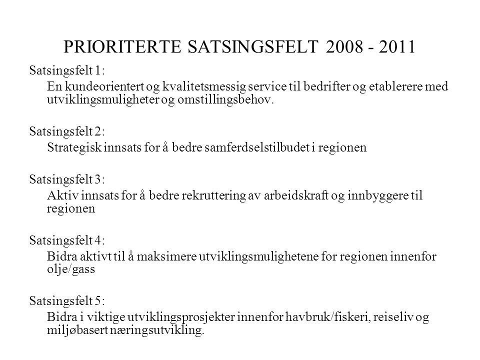 PRIORITERTE SATSINGSFELT 2008 - 2011 Satsingsfelt 1: En kundeorientert og kvalitetsmessig service til bedrifter og etablerere med utviklingsmuligheter og omstillingsbehov.