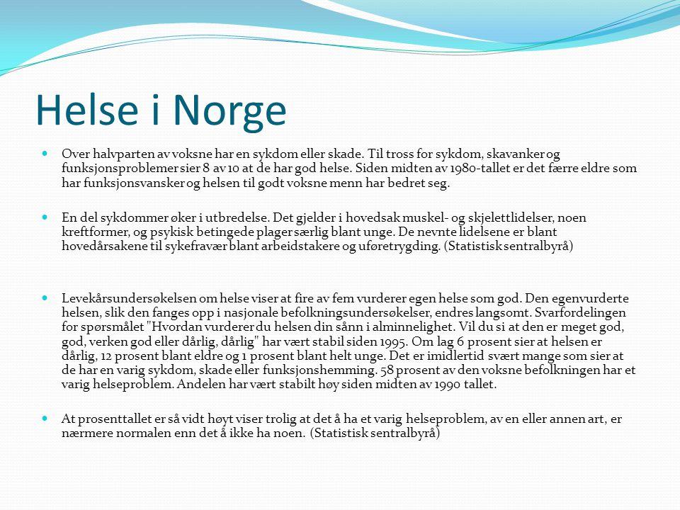 Helse i Norge  Over halvparten av voksne har en sykdom eller skade. Til tross for sykdom, skavanker og funksjonsproblemer sier 8 av 10 at de har god