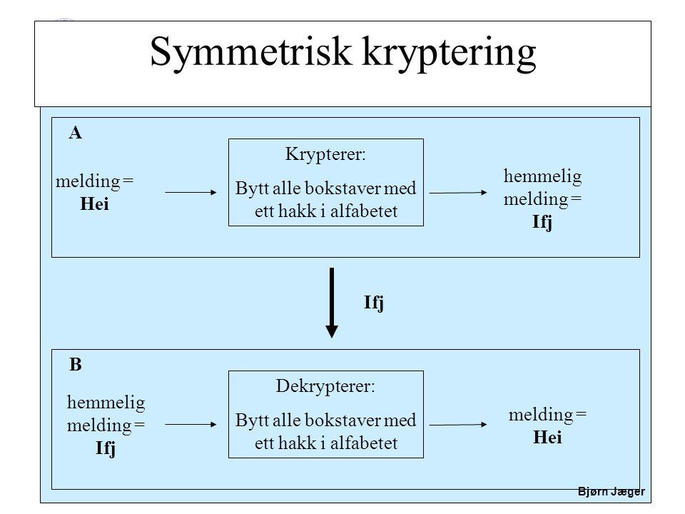Sikkerhet Bjørn Jæger Symmetrisk kryptering melding = Hei Krypterer: Bytt alle bokstaver med ett hakk i alfabetet hemmelig melding = Ifj A Dekrypterer