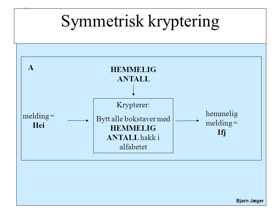 Sikkerhet Bjørn Jæger Symmetrisk kryptering melding = Hei Krypterer: Bytt alle bokstaver med HEMMELIG ANTALL hakk i alfabetet hemmelig melding = Ifj A