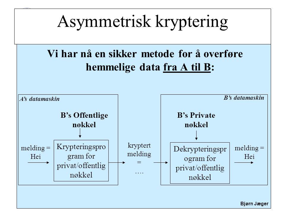 Sikkerhet Bjørn Jæger Vi har nå en sikker metode for å overføre hemmelige data fra A til B: B's Offentlige nøkkel Krypteringspro gram for privat/offen