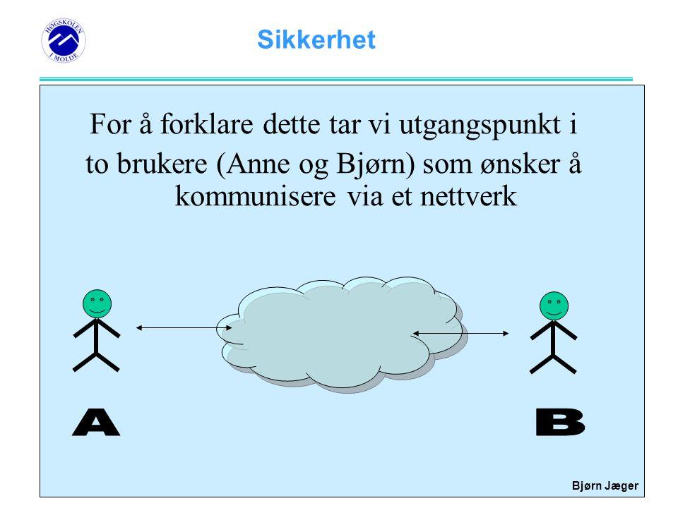 Sikkerhet Bjørn Jæger Ikke-benektning (non-repudiation) En mekanisme som gjør at du ikke kan nekte for å ha sendt en melding.