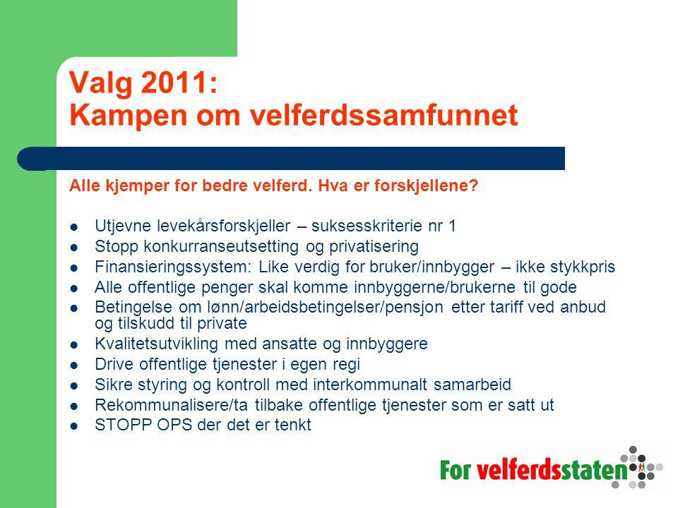 Valg 2011: Kampen om velferdssamfunnet Alle kjemper for bedre velferd.