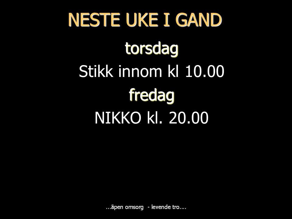 NESTE UKE I GAND torsdag Stikk innom kl 10.00fredag NIKKO kl. 20.00