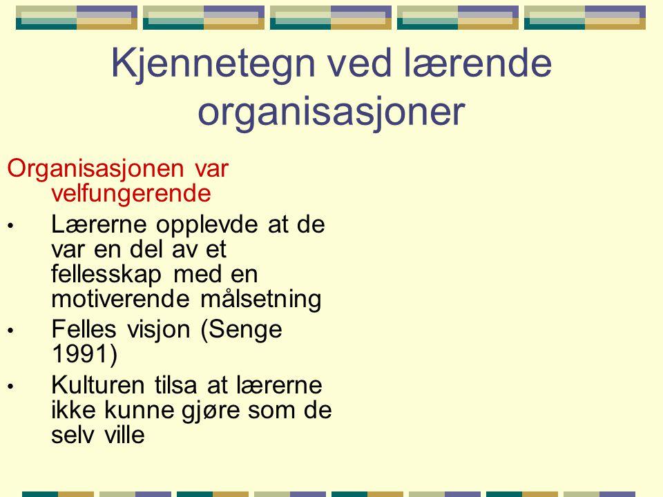 Kjennetegn ved lærende organisasjoner Organisasjonen var velfungerende • Lærerne opplevde at de var en del av et fellesskap med en motiverende målsetn