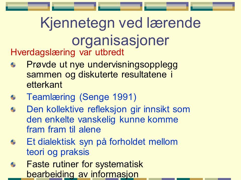 Kjennetegn ved lærende organisasjoner Hverdagslæring var utbredt Prøvde ut nye undervisningsopplegg sammen og diskuterte resultatene i etterkant Teaml