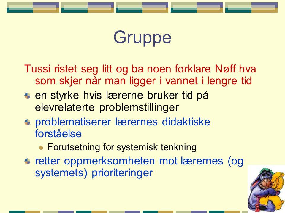 Gruppe Tussi ristet seg litt og ba noen forklare Nøff hva som skjer når man ligger i vannet i lengre tid en styrke hvis lærerne bruker tid på elevrela