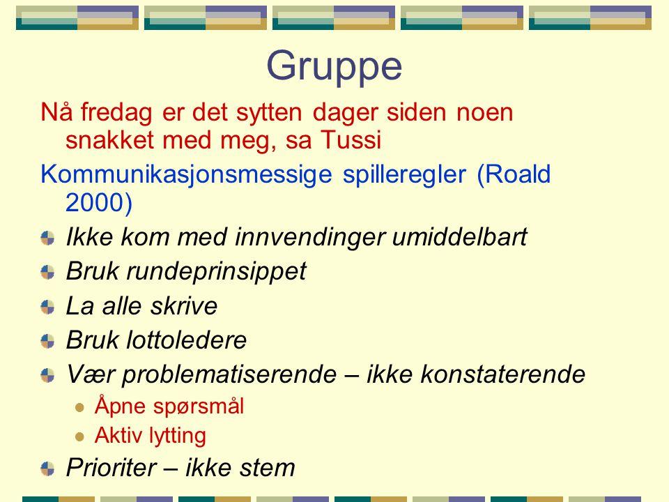 Gruppe Nå fredag er det sytten dager siden noen snakket med meg, sa Tussi Kommunikasjonsmessige spilleregler (Roald 2000) Ikke kom med innvendinger um
