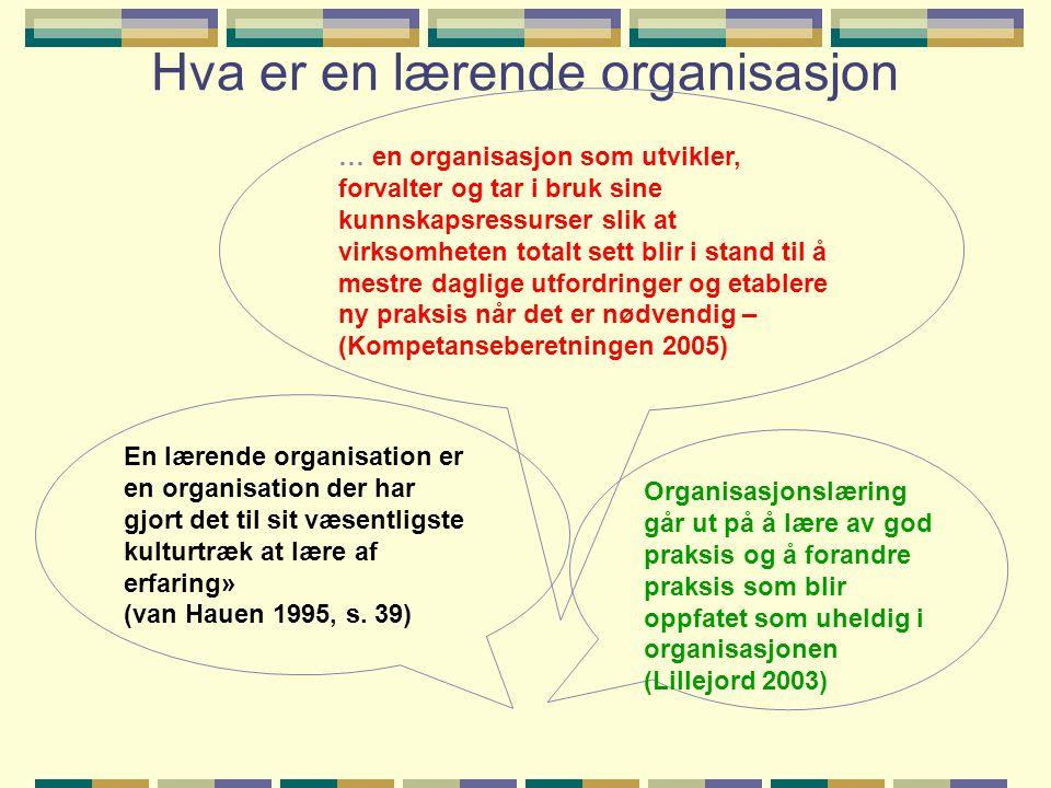 Hva er en lærende organisasjon En lærende organisation er en organisation der har gjort det til sit væsentligste kulturtræk at lære af erfaring» (van Hauen 1995, s.