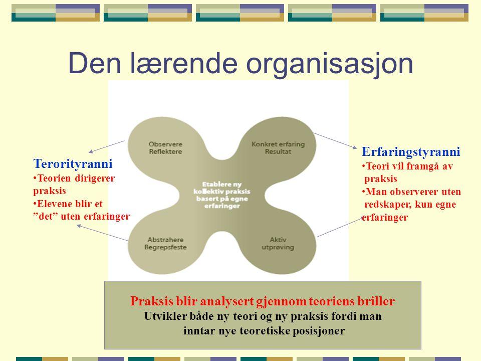 Den lærende organisasjon Erfaringstyranni •Teori vil framgå av praksis •Man observerer uten redskaper, kun egne erfaringer Terorityranni •Teorien diri
