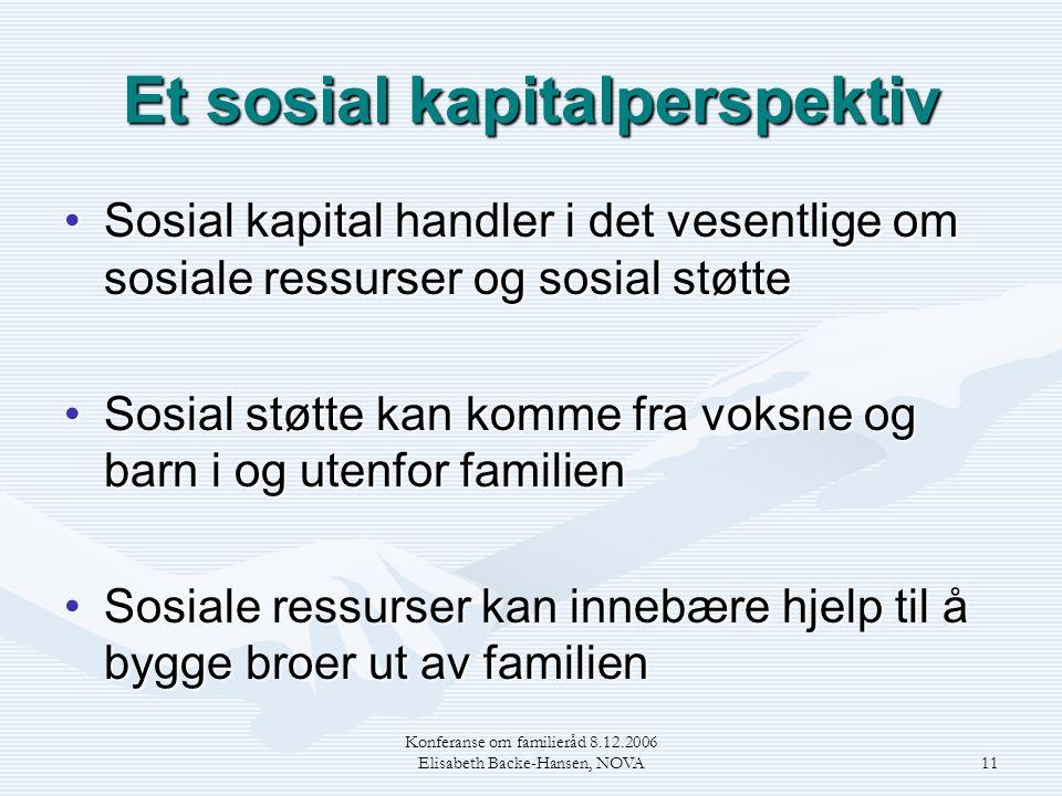 Konferanse om familieråd 8.12.2006 Elisabeth Backe-Hansen, NOVA11 Et sosial kapitalperspektiv •Sosial kapital handler i det vesentlige om sosiale ress
