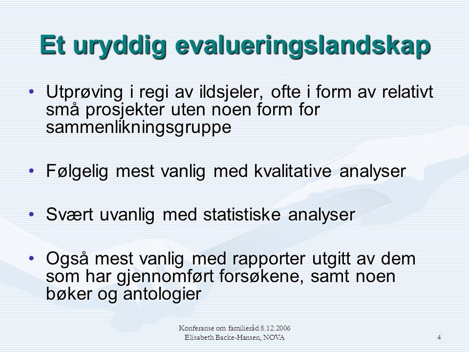 Konferanse om familieråd 8.12.2006 Elisabeth Backe-Hansen, NOVA4 Et uryddig evalueringslandskap •Utprøving i regi av ildsjeler, ofte i form av relativ
