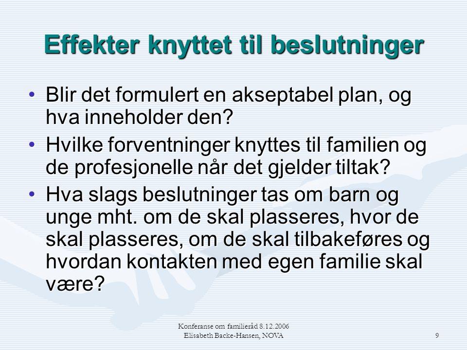 Konferanse om familieråd 8.12.2006 Elisabeth Backe-Hansen, NOVA9 Effekter knyttet til beslutninger •Blir det formulert en akseptabel plan, og hva inne