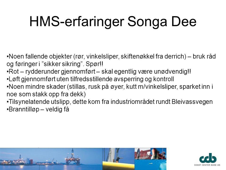 """HMS-erfaringer Songa Dee •Noen fallende objekter (rør, vinkelsliper, skiftenøkkel fra derrich) – bruk råd og føringer i """"sikker sikring"""". Spør!! •Rot"""