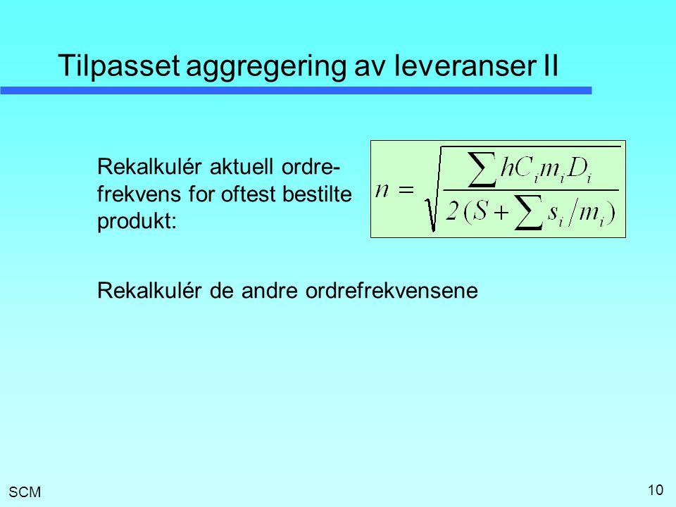 SCM 10 Tilpasset aggregering av leveranser II Rekalkulér aktuell ordre- frekvens for oftest bestilte produkt: Rekalkulér de andre ordrefrekvensene