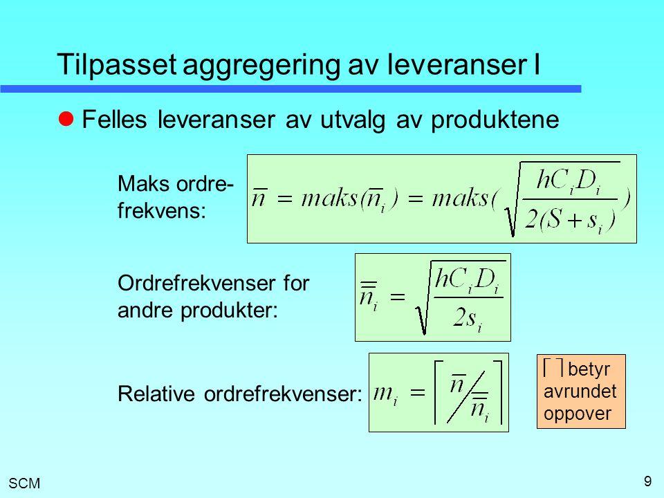 SCM 9 Tilpasset aggregering av leveranser I  Felles leveranser av utvalg av produktene Maks ordre- frekvens: Ordrefrekvenser for andre produkter: Relative ordrefrekvenser:   betyr avrundet oppover