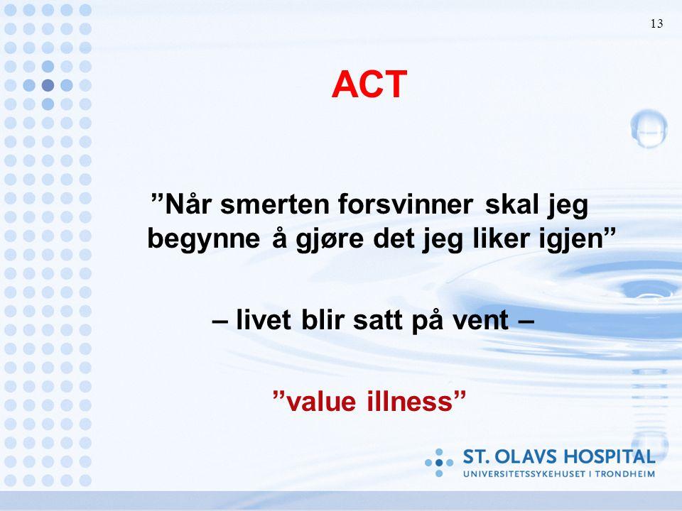 """13 ACT """"Når smerten forsvinner skal jeg begynne å gjøre det jeg liker igjen"""" – livet blir satt på vent – """"value illness"""""""