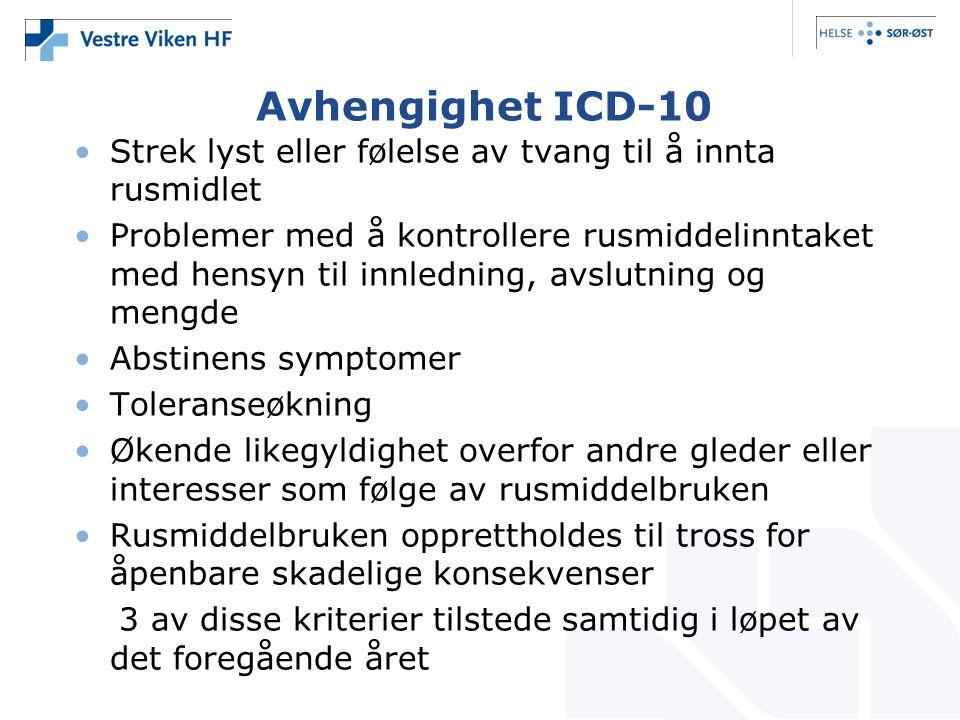 Avhengighet ICD-10 •Strek lyst eller følelse av tvang til å innta rusmidlet •Problemer med å kontrollere rusmiddelinntaket med hensyn til innledning,