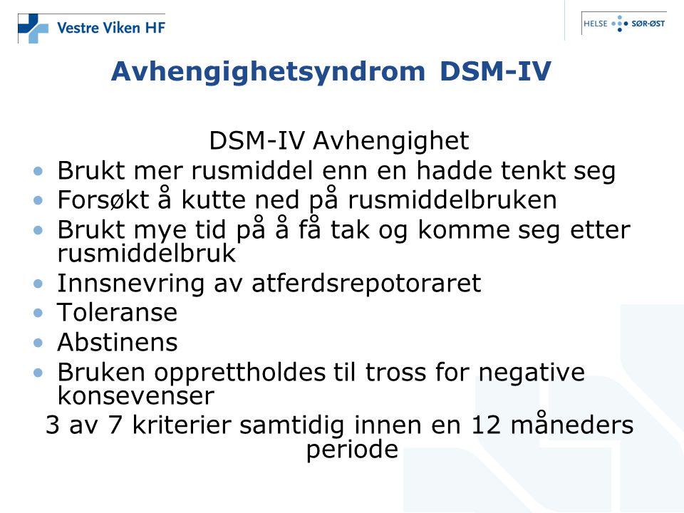Avhengighetsyndrom DSM-IV DSM-IV Avhengighet •Brukt mer rusmiddel enn en hadde tenkt seg •Forsøkt å kutte ned på rusmiddelbruken •Brukt mye tid på å f