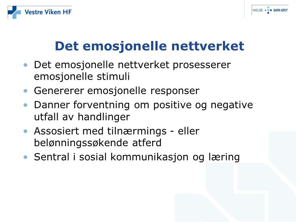 Det emosjonelle nettverket •Det emosjonelle nettverket prosesserer emosjonelle stimuli •Genererer emosjonelle responser •Danner forventning om positiv