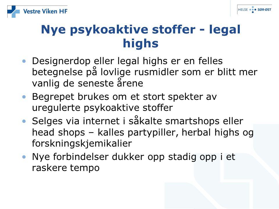 Nye psykoaktive stoffer - legal highs •Designerdop eller legal highs er en felles betegnelse på lovlige rusmidler som er blitt mer vanlig de seneste å