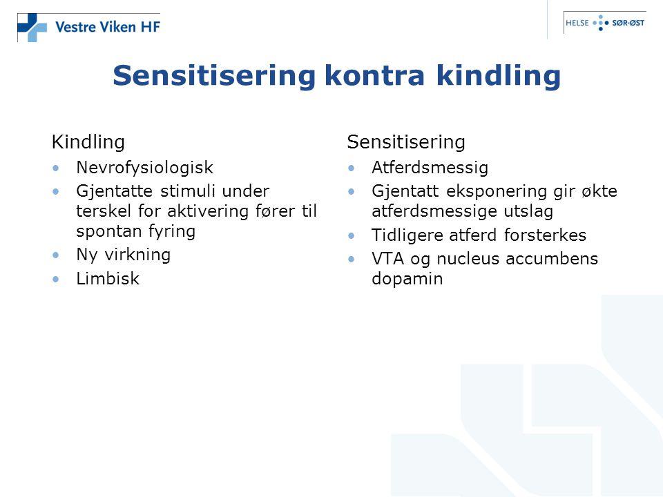 Sensitisering kontra kindling Kindling •Nevrofysiologisk •Gjentatte stimuli under terskel for aktivering fører til spontan fyring •Ny virkning •Limbis
