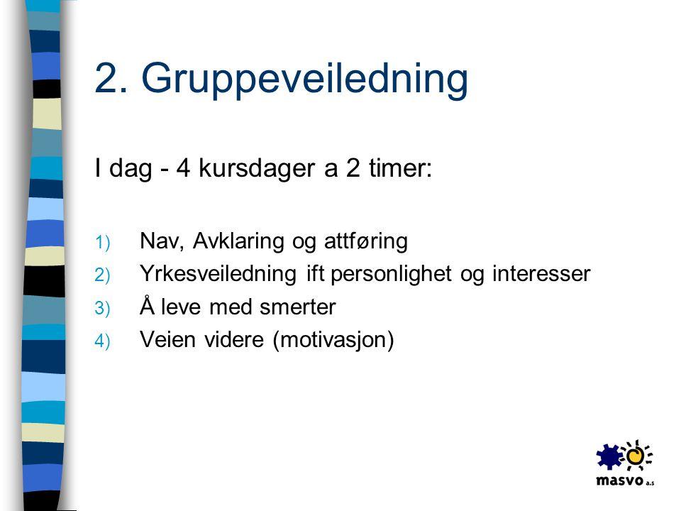 2. Gruppeveiledning I dag - 4 kursdager a 2 timer: 1) Nav, Avklaring og attføring 2) Yrkesveiledning ift personlighet og interesser 3) Å leve med smer