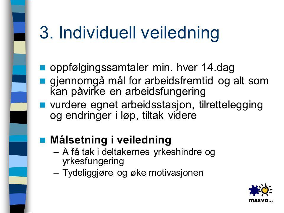 3. Individuell veiledning  oppfølgingssamtaler min. hver 14.dag  gjennomgå mål for arbeidsfremtid og alt som kan påvirke en arbeidsfungering  vurde