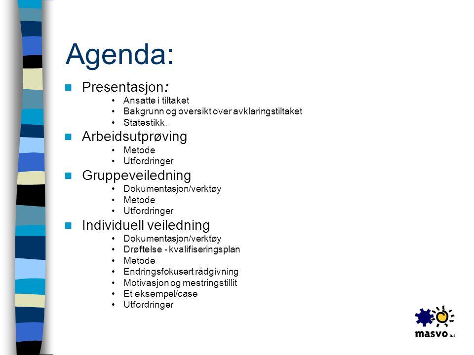 Agenda:  Presentasjon: •Ansatte i tiltaket •Bakgrunn og oversikt over avklaringstiltaket •Statestikk.  Arbeidsutprøving •Metode •Utfordringer  Grup