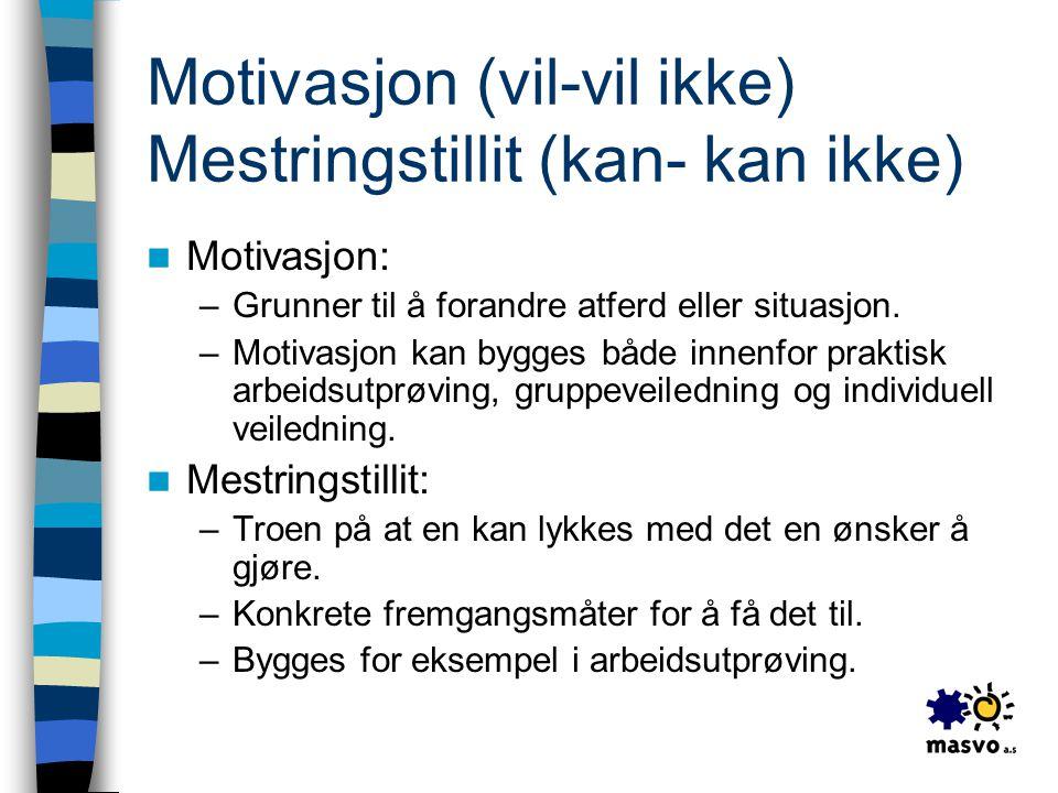 Motivasjon (vil-vil ikke) Mestringstillit (kan- kan ikke)  Motivasjon: –Grunner til å forandre atferd eller situasjon. –Motivasjon kan bygges både in